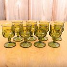 8 Green Indiana Glass Co Kings Crown Thumbprint Wine Goblet Water