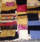 Mixed Swatches of Sewing Materials, Red, Black Blue Cloth Fabric