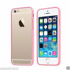 Pink Clear TPU Bumper Case Cover Metal Button For Apple Iphone 4 4s 4G