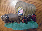 Vintage Cast Iron Door Stop With 2 Oxen Pulling A Conestoga Covered Wagon