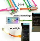 1PC White 2 in 1 Mini USB LED Light + Charge Sync Cable For Android Micro USB