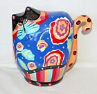 JOYCE SHELTON Purple Peach Floral Cat's Meow Bank 7
