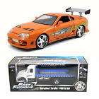 Fast  Furious Diecast Package Flat Bed Tow Truck w 1995 Brians Toyota Supra