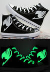 Hand Painted Anime Fairy Tail Night Light Canvas Shoes Lace Up Ankle Sneakers