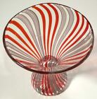 HAND BLOWN GLASS VASE BY DIRWOOD MADE WITH GLASS CANES RED PURPLE