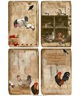 4 Primitive Chickens and Roosters Hang Tags Scrapbooking Paper Crafts 299