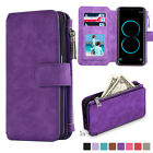 Samsung Galaxy S8 Note 8 Leather Removable Wallet Magnetic Flip Card Zipper Case