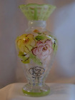 Tracy Porter Bud Vase Painted Pink Yellow Roses 6.5
