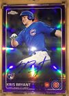2015 Topps Chrome Kris Bryant RC Purple Parallel On Card Auto #250 Chicago Cubs