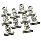 10Pcs Mini Bulldog Letter Clips Stainless Steel Silver Metal Paper Binder Clips