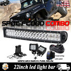 22Inch LED Driving Fog work Light bar Pair for 07 16 Jeep JK Wrangler Rubicon