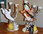Fitz & Floyd Halloween Harvest Witch & Ghost Candle Holder Set Cat Owl NEW inBX