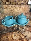 Fiesta Turquoise Cream And Sugar Set With Tray