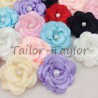 20pcs Satin Ribbon Flower with Pearl Wedding Appliques Crafts DIY 13 Colors