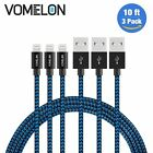 Lightning Cable, 3Pack 10FT Nylon Braided Extra Long Tangle-Free Cord Lightning
