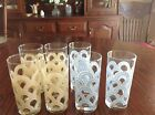 Retired blue and yellow pattern Fiestaware glass 16 ounce tumblers in excellent