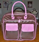 CGull Cricut Cartridge Leather Storage Tote Pink  Brown Scrapbooking