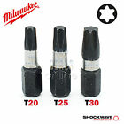 Milwaukee 25mm Torx T20 T25 T30 Set of 3 Shockwave Impact Duty Screwdriver Bits