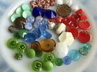 Large Lot of 62 Vintage Antique Vintage Glass Buttons Blue Green Amber Red White