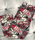 One Size Heart Print CAPRI Leggings Love White Pink Red Buttery Soft OS 2 10