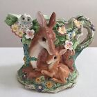 FITZ AND FLOYD DEER FAWN BUNNY WOODLAND SPRING PITCHER RETIRED