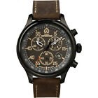 Timex Men's Expedition   Brown Leather Strap Field Chronograph Watch T49905