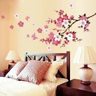 Large Peach Blossom Flowers Butterfly Wall Stickers Art Decal Home Room Decor US