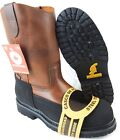 MENS STEEL TOE WORK BOOTS PULL ON SAFETY GENUINE LEATHER BROWN OIL RESISTANT