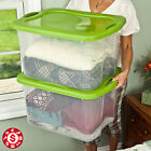 Plastic TOTE STORAGE CONTAINER Large Organizer Box with Lids Bin Set 6 Pack 70qt