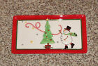 Fitz & Floyd Holiday Wishes Snowman Christmas Tree Tray Plate New in Box