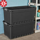 3 Plastic Storage Containers Extra Large 50 Gallon Box Stacker Tote Bin w Lids