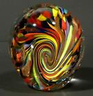 PAPERWEIGHT CONTEMPORARY ART GLASS DIRWOOD 45 RED BLUE AQUA GOLD YELLOW