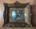 Antique Art Deco Oil Painting Hand Painted Miniature Picture Signed