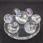 Amazing Seven Star Group Natural Rainbow Quartz Crystal Ball  Glass Stand