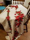 True Vintage Christmas Cotton Tablecloth Poinsettia Red Green Holiday