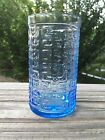Vintage MCM Blue Textured Glass Greek Key