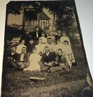 Antique Victorian American Outdoor Children  Young Adults Group Tintype Photo