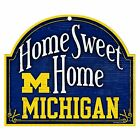 NCAA Michigan Wolverines 10x11 inch Home Sweet Home Wood Sign NEW