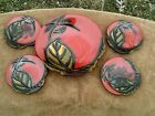 Japanese -5 Pcs set. - LACQUER Wood HAND CARVED Hand Painted - Free Shipping