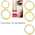 Xmas 2pc 8mm 10mm Nose Ring Stainless Steel Ring Nose Lip Piercing Jewelry
