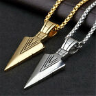 Mens Fashion Gold Silver Arrow Head Pendant Long Chain Necklace Punk Jewelry