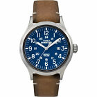 Timex Expedition Scout | Brown Leather Strap Blue Dial Date | Outdoor TW4B01800