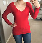 NWT Bright Red V Neck Classic Long Sleeve Lightweight Sweater Top Shirt XS