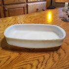 Federal Glass Mesa White Green Beige Flat Loaf Pan Cake Dish 50s Milkglass Bake