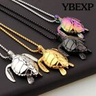 Mens New Sea Turtle Pendant Stainless Steel Necklace Chain Colorful Jewelry