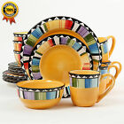 Gibson Home Fandango 16-Piece Dinnerware Set, Yellow Multicolor JUST ADD SUMMER