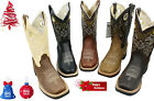 MENS RODEO COWBOY BOOTS GENUINE LEATHER WESTERN SQUARE TOE BOTAS CARR 721