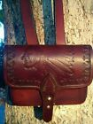 Leather ammo pouch with removable shoulder strap/ Indian Chief design/ USA