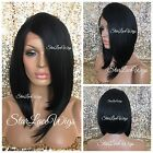 Synthetic Lace Front Wig Straight Angled Bob Off Black #1b Side Part Heat Safe