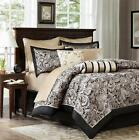 12 PIECE Rich Black Gold REGAL PAISLEY Comforter Sheets Bed in Bag SET ALL SIZES